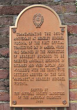 First Official Thanksgiving Commemoration Plaque