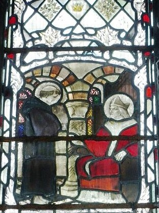 Window in Gloucester Cathedral                                                                                                                                      of St Patrick being taught by St Germanus